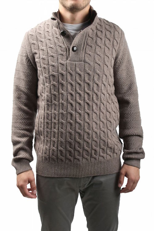 BARBOUR Cable Knit Mock Neck Sweater