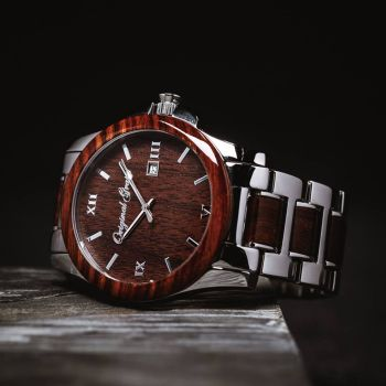 barrel whiskey pin wood watches steel espresso