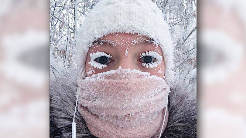 Cold Russia Frozen Eyelashes