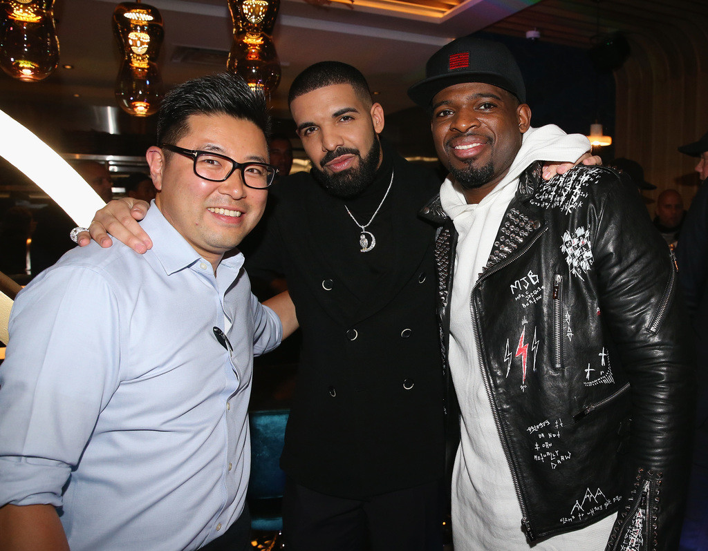 Antonio Park, Drake and PK Subban attend as Drake And OVO Chubbs Host Friends and Family Event Of New Restaurant, Pick 6IX, With The House Of Remy Martin on January 10, 2018 in Toronto, Canada.