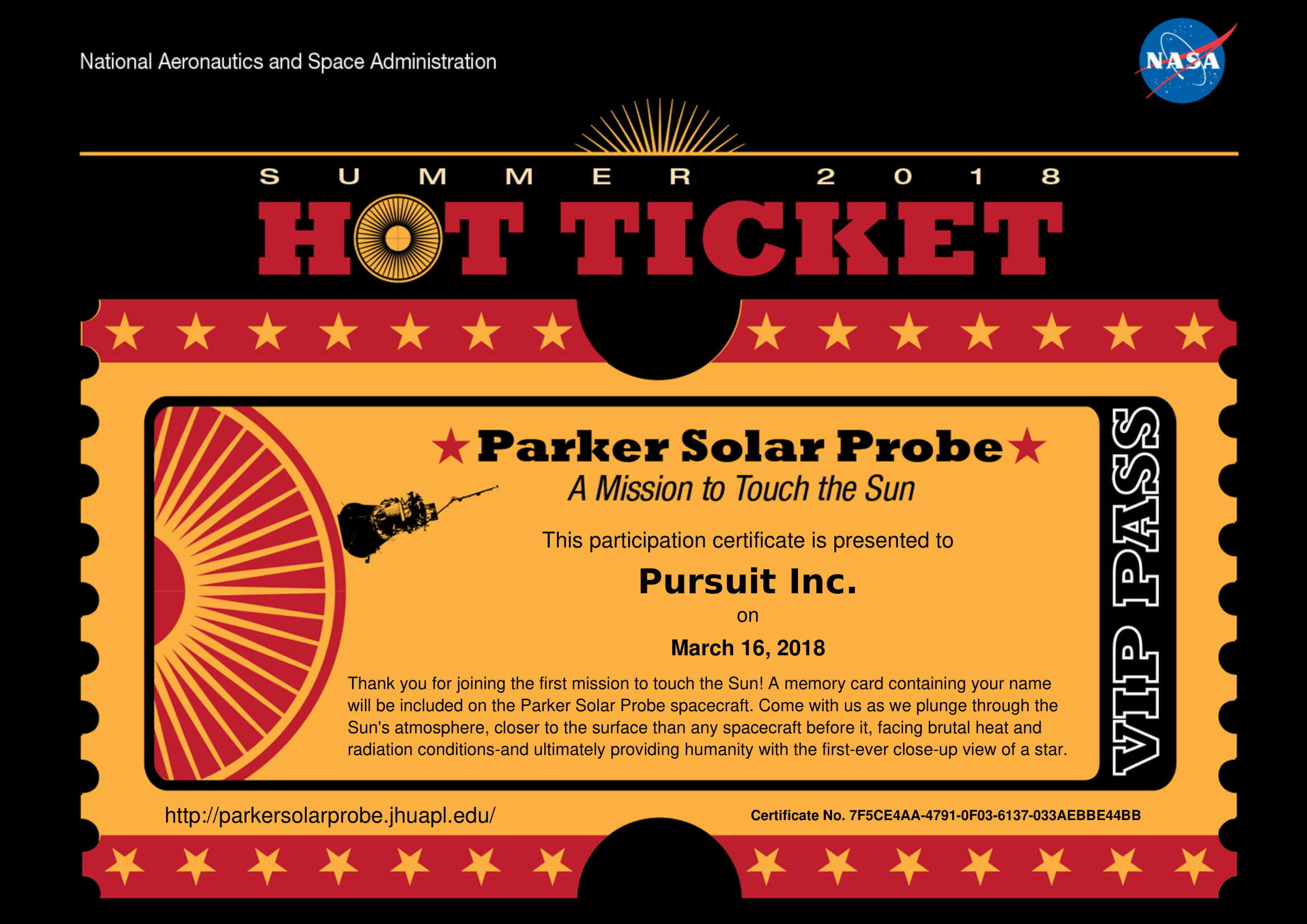 Summer Pursuit ticket