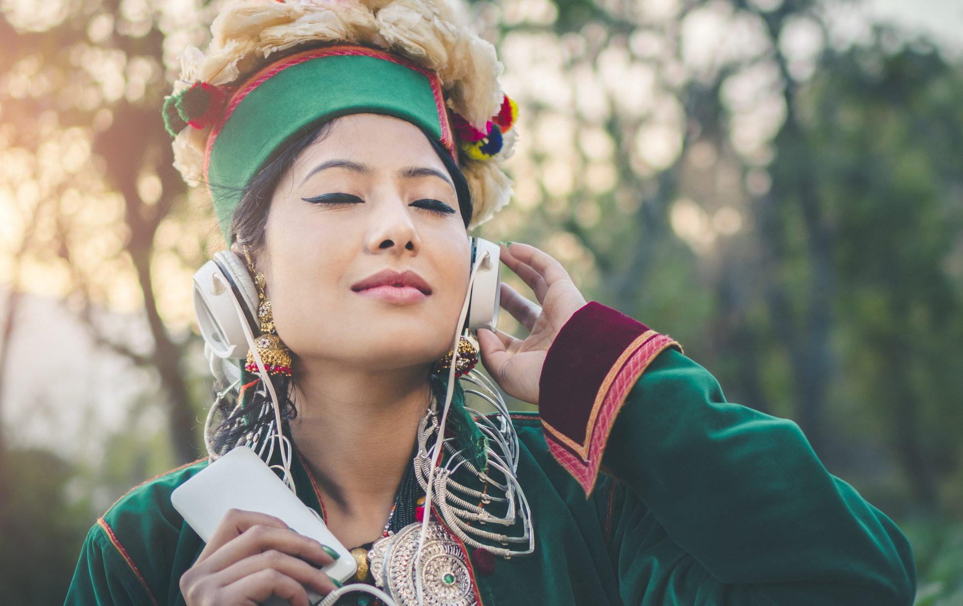 Woman listening to heritage music