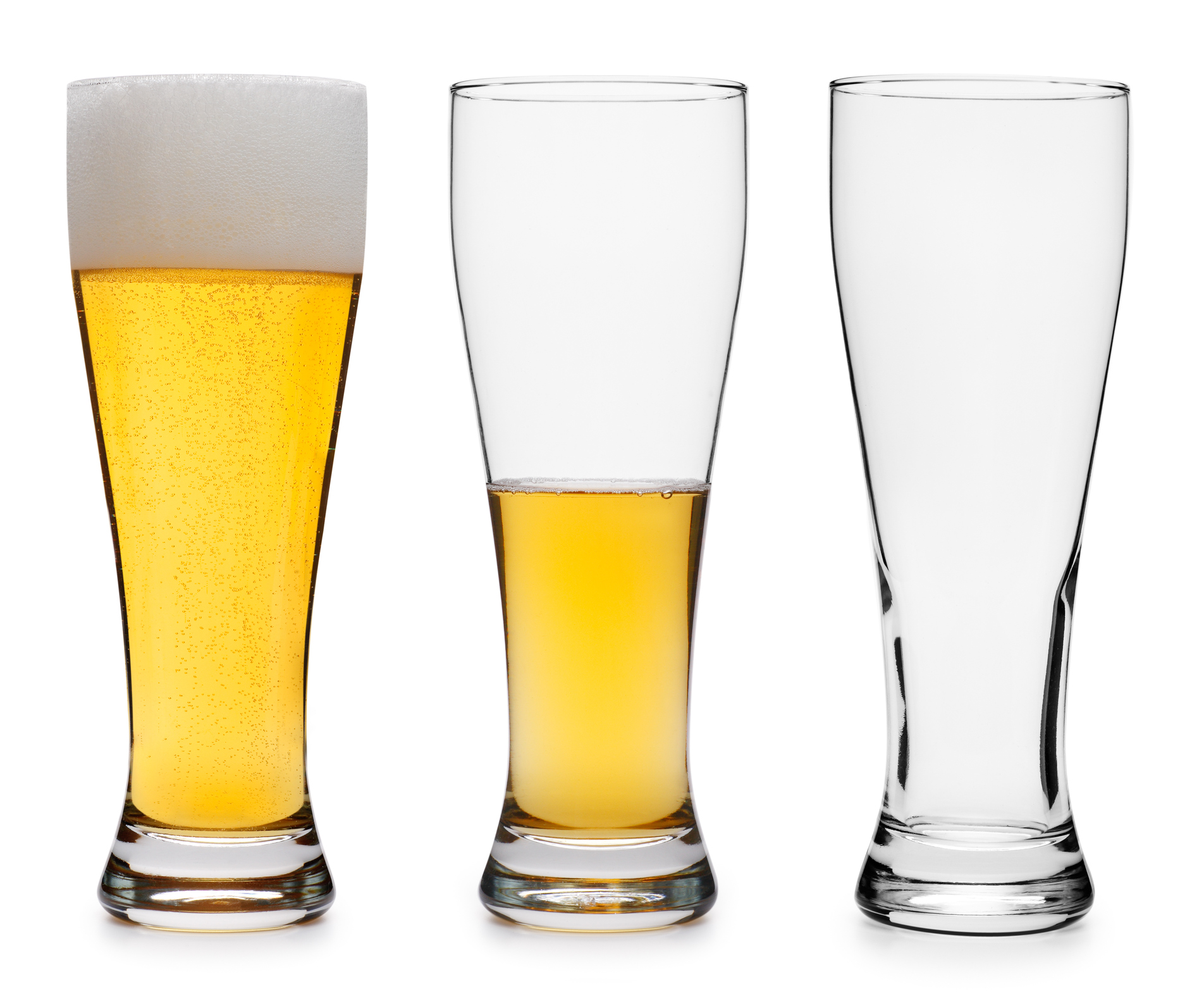 Beer glasses progressively empty